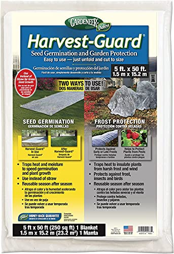 Harvest Guard Freeze Protection Plant Cover, Floating Frost Blanket for Outdoor Plants and Lawn Seed Germination, Reusable Garden Fabric Plant Cover Warmer for Harsh Weather (5' x 50')