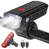実用的 自転車ライト、USB充電式自転車ライトセットハイルーメンフロントとリア自転車のセーフティライト5モードLEDヘッドライトとテールライトIPX-6 2つのブラケット付きの防水懐中電灯 ポータブル