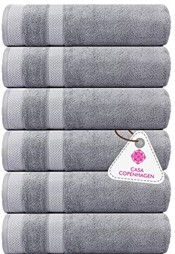 CASA COPENHAGEN Solitaire, set di 6 asciugamani turchi, include 6 Pcs Hand Towel Grigio viola.…