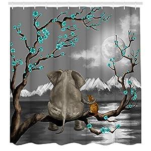 Kreative Arts Rustic Gray Decor Elephant and Cat Shower Curtain for Kids Bathroom Decor Cute Animal Sitting on Tree Branch Look Moon Ocean Scene Fabric Bathroom Curtains 72x72 Inches