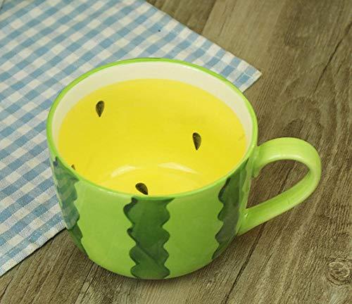 LDJING Tasse À Café en Céramique Divers Forme De Fruits Tasse Café Créatif Lait Thé Enfants Creative Cadeau-Pastèque Jaune