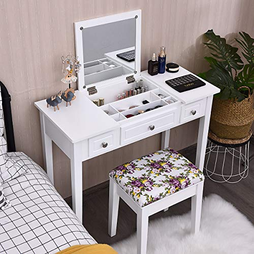 CHARMAID Vanity Set with Flip Top Mirror and 3 Drawers &7 Compartments, Makeup Dressing Table Writing Desk with Cushioned Stool for Kids Girls Women, Easy Assembly, White