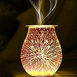 SOOTOP Quemador de Cera Eléctrico 3D Difusor de Aromaterapia de Vidrio Quemador de Aceite Calentador de Fragancia Fundidor para Oficina en Casa Dormitorio Sala