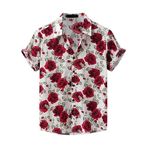 Yowablo Chemises Hommes Mode Imprimé Col Rabattu Manches Courtes Décontracté (XL,10Blanc)