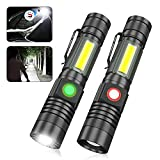 Rechargeable LED Flashlight, Waterproof Tactical Flashlights with COB Work Light, Zoomable, Super Bright Magnetic Flashlight Water Resistant, Small Pocket Flashlights for Camping, Emergencies, Hiking