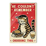 Oddss Vintage Cat Burger Fries Cartel de Chapa, Retro Lightweight Aluminum Wall Plaque Signs Decor Funny Gifts for Garage Home House Bathroom Men Cave Cafe Bar, 8X12 Inches