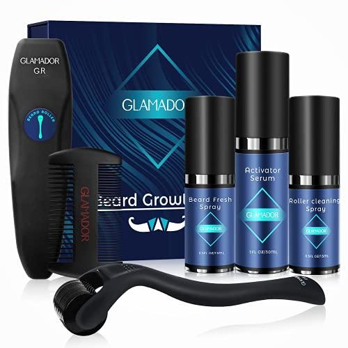 Kit Crecimiento de Barba-GLAMADOR Kit Cuidado Barba Hombre 5 Pcs-Rodillo...