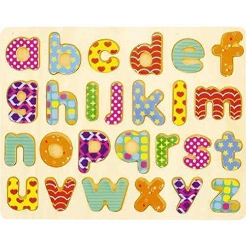 Alphabet en bois coloré, 1 emplacement pour chaque lettre, 26 lettres en tout