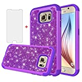 Asuwish Phone Case for Samsung Galaxy S6 with Tempered Glass Screen Protector Cover Cell Accessories Bling Glitter Slim Hybrid Hard Rugged Protective Glaxay 6s S 6 GS6 SM-G920V G920A Girl Women Purple