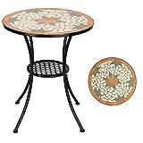 LIBYPNV Mesa redonda de 28 pulgadas, mesa de mosaico de forma de hoja de arce con incrustaciones de cerámica para patio de jardín al aire libre (solo mesa)