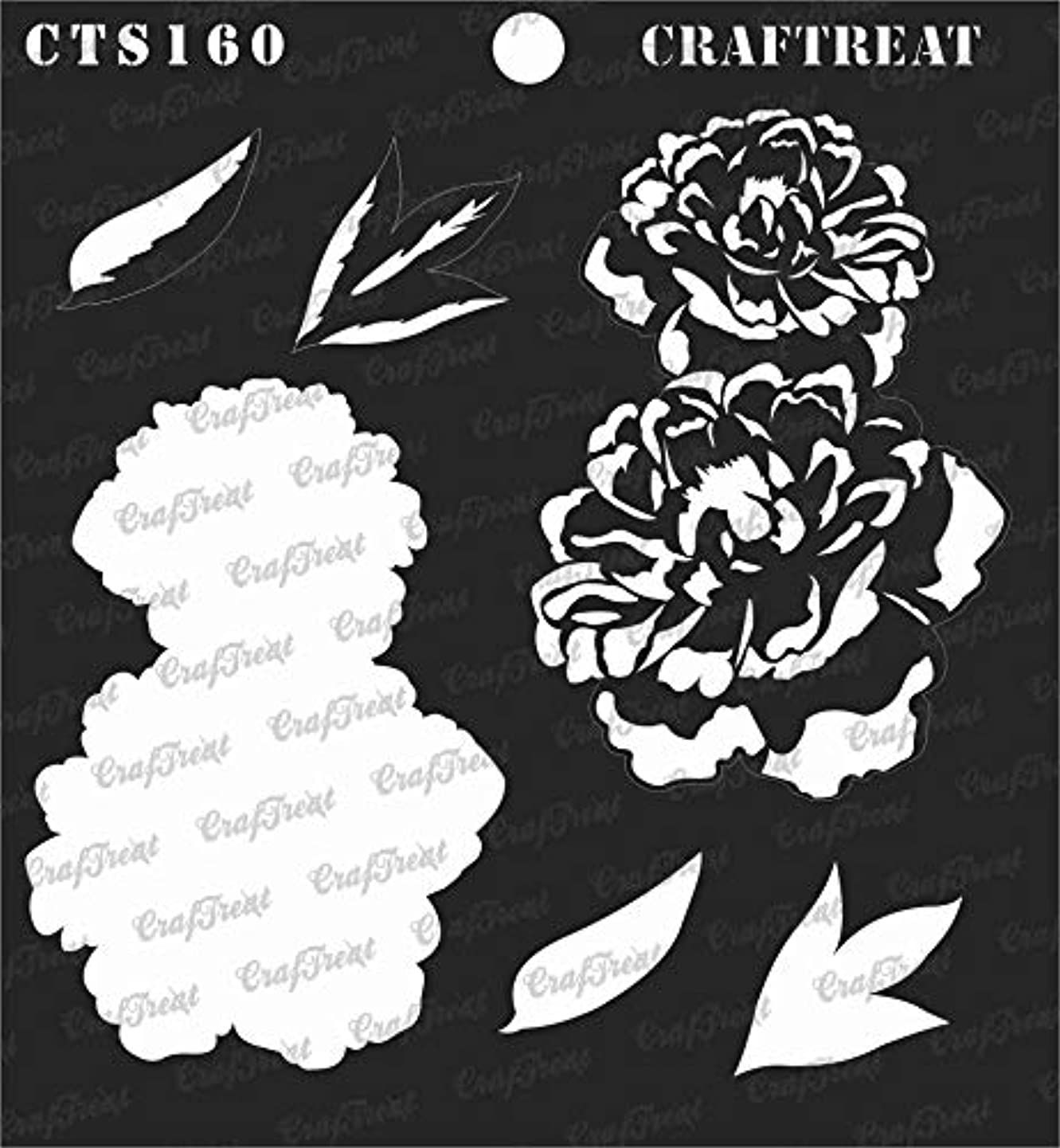 CrafTreat Stencil - 2 Step Layered Peony | Reusable Painting Template for Journal, Notebook, Home Decor, Crafting, DIY Albums, Scrapbook and Printing on Paper, Floor, Wall, Tile, Fabric, Wood 6