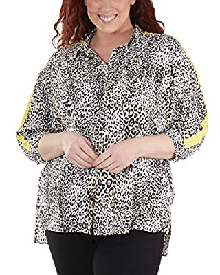 NY Collection Plus Size High-Low Slit Hem Button Up Blouse
