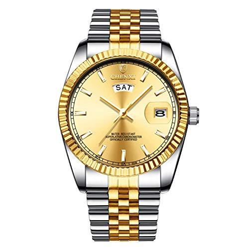 XLORDX Reloj de Pulsera para Hombre, Resistente al Agua, con Fecha, analógico, de Cuarzo, Dorado, con Acero Inoxidable Dorado