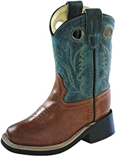 Old West Blue/Green Toddler Boys Square Toe Cowboy Western Boots