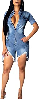 LKOUS Womens Summer Casual Short Sleeves High Waist One Piece Destroyed Ripped Jean Demin Jumpsuits Romper Overall Playsuit