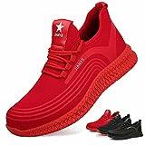 Zapatos de Seguridad Hombre Ligeros Calzado de Trabajo Mujer Punta de Acero Zapatillas Seguridad Transpirables Comodo Rojo 39