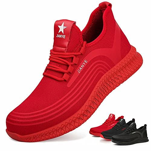 Zapatos de Seguridad Hombre Ligeros Calzado de Trabajo Mujer Punta de Acero Zapatillas Seguridad Transpirables Comodo Rojo 36