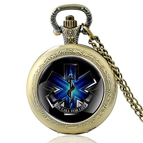 Reloj de Bolsillo de CuarzoparamédicoNegro clásicoVintage Hombres MujeresServicios de Emergencia Collar Colgantes Regalos Bronce