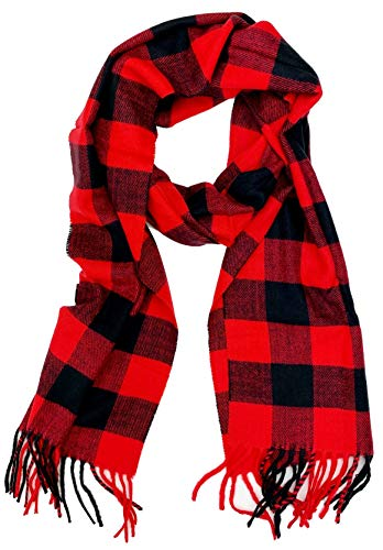 Plum Feathers Plaid Check and Solid Cashmere Feel Winter Scarf (Black-Red Buffalo Check)