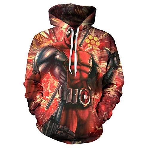 Fleyel Unisex Jacke HD 3D-Druck Rap Kapuzenoberteil Hoodie Straße Pullover Jugend Sweatshirts Parkour Pullover Drawstring Taschen X-Men Deadpool