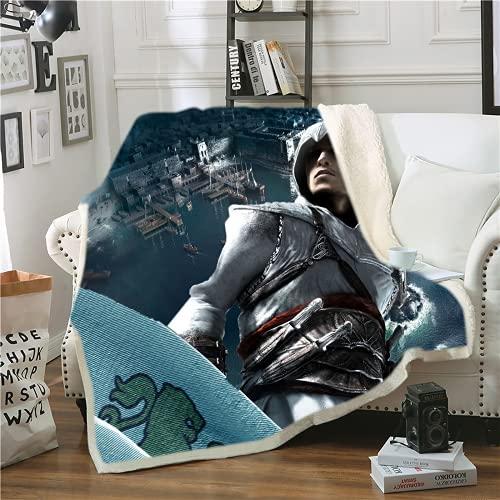 Amacigana Assassin's Creed Sherpa Throwing Odyssey - Manta de forro polar (06,100 x 140 cm)