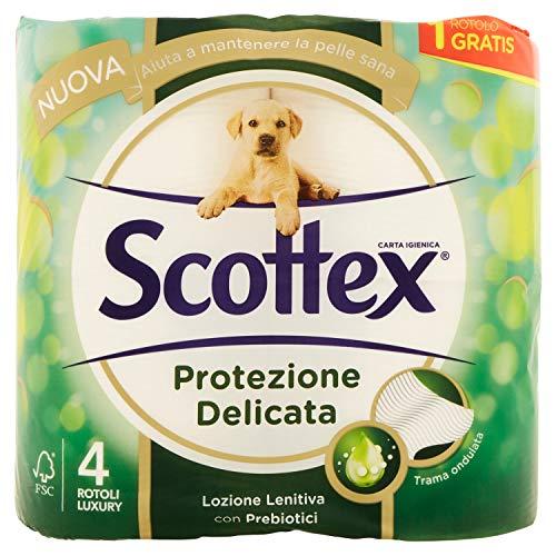 Scottex - Papel higiénico de protección delicada, paquete de 4 rollos, 380 g