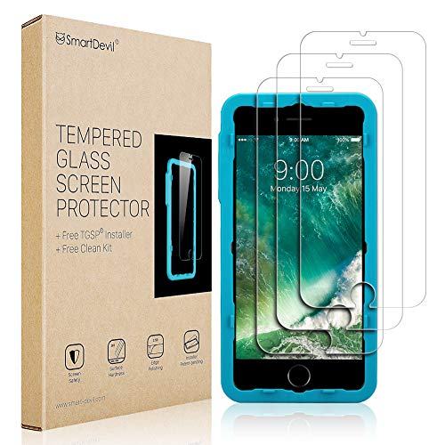 SmartDevil Screen Protector for iPhone 8 7 6 6S, [3 Pack]-[9H Hardness][Scrach Proof][Anti-Fingerprint][Touch Sensitivity] 2.5D Edge Tempered Glass Screen Protector for Apple 8/7/6/6S (4.7 inch)