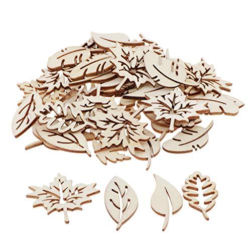 P Prettyia 50 Stück Hölzerne Blätter Holzscheiben Hängende Verzierung Holzstreuteile in Verschiedene Blatt Form für Kinder DIY