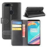 HualuBro OnePlus 5T Hülle, [All Aro& Schutz] Echt Leder Leather Wallet Handy Tasche Schutzhülle Hülle Flip Cover mit Karten Slot für OnePlus 5T Smartphone (Schwarz)