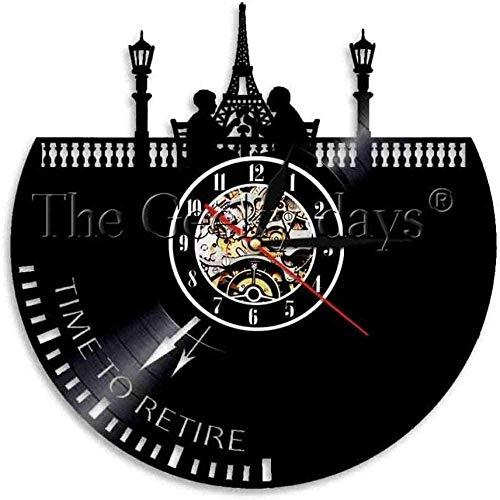 TJIAXU Reloj de Pared de la Torre Eiffel de París Reloj de...