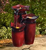 Ark Dcor- Backyard Water Fountains Outdoor - Red Lightweight Resin with Pump and LED Lights - Bring Charm to Your Garden Or Veranda with This Eye-Catching Fountain