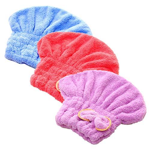 3 Stks Microvezel Haar Drogen Handdoeken, Ultra Absorbens Haar Drogen Cap Strik Haar Turban Handdoek voor Vrouwen Volwassenen of Kinderen Meisjes om Droog Haar Snel