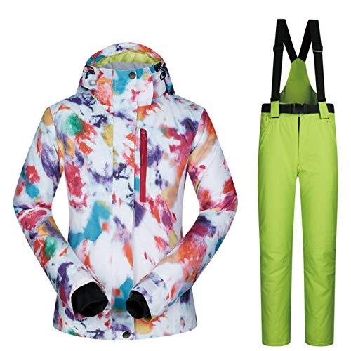 MEOBHI Skipakken voor dames, waterdicht, ademend, warme ski-jack en broeken winter, ski- en snowboardpakken winterjas