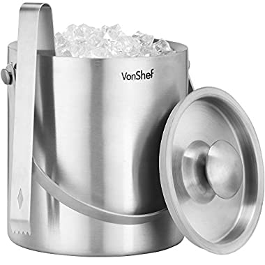 VonShef 3 L Double Walled Insulated Stainless Steel Ice Bucket with Lid, Carry Handle & Tongs