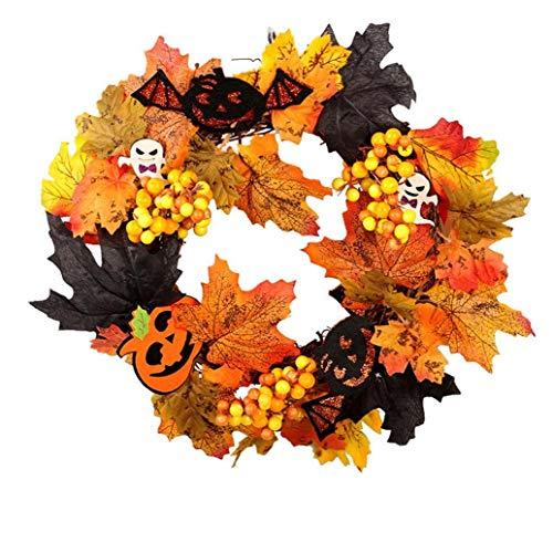 linjunddd 1 Pcs Halloween-Ahornblatt-Kranz-Herbst-Kranz Kürbis-Kranz Mit Licht Für Haustür-ausgangsdekor Osterdekoration Home Decoration