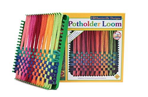 "Harrisville Designs Potholder 7"" Traditional Size Potholder Loom Kit with Cotton Loops Make 2 Potholders, Weaving Crafts for Kids & Adults-Multi"