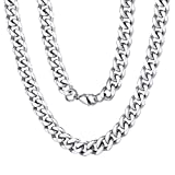 9mm Miami Mens Chain Boys Curb Cuban Link Stainless Steel Necklace Men's Silver