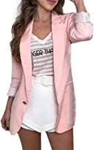 Dermanony Womens Solid Blazer Casual Lapel Shoulder Pad Office Coat Long Sleeve Botton Down Parka Outerwear Jacket