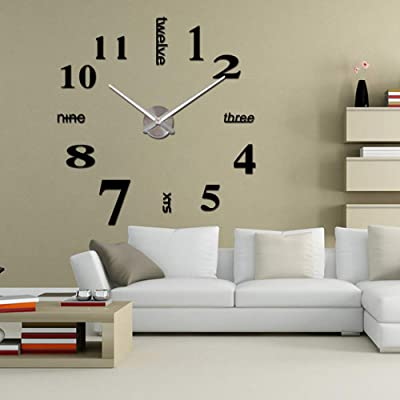WOOLIY DIY 3D Wall Clock/Modern Large Home Decor Sticker Frameless Mirror for Office/
