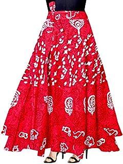Krystle Women Printed Wrap Around Red Skirt