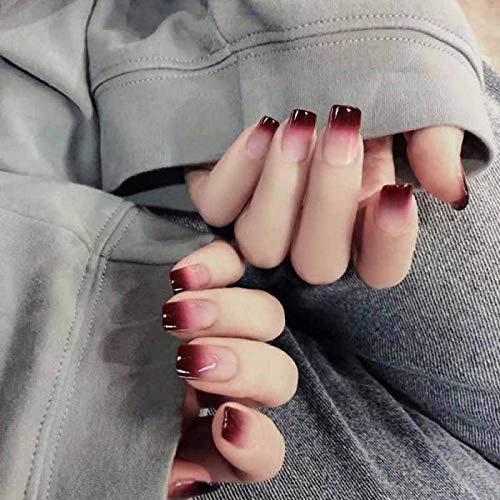 TJJL Faux ongles Rouge Dégradé Couleur 24 Pcs Artificiel Faux Plein Doigt Longs Ongles Carrés Avec De La Colle Acrylique Faux Ongles Conseils Pour Dame