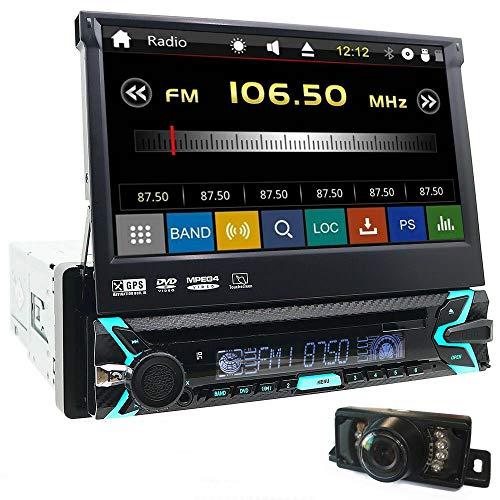 EINCAR - Radio con Pantalla táctil abatible de 7 Pulgadas, Radio de Coche estéreo de un Solo Dinar con Bluetooth, 1DIN en el Tablero, Reproductor de CD, DVD, navegación GPS, Soporte para Llamadas