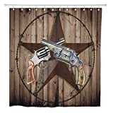 Joocar Bathroom Decor Shower Curtain Western Vintage Retro Star Gun Revolver Home Curtain Sets with Hooks Polyester Fabric Great Gift