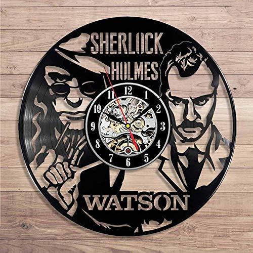 wtnhz LED-Vinyl wall clock modern design detective movie theme 3D sticker vintage vinyl record clock wall clock home decoration