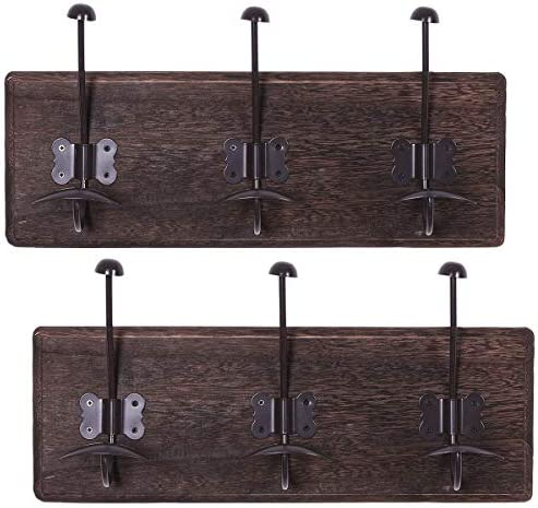 Rustic Wall Mounted Coat Rack with 3 Sturdy Hooks Set of 2 Vintage Entryway Wooden Coat Racks product image