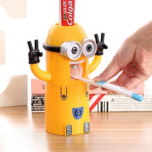 Cartoon Belle diseño louluo amarillo cepillo de dientes porte-bucket automático pasta de dientes dispensador automático