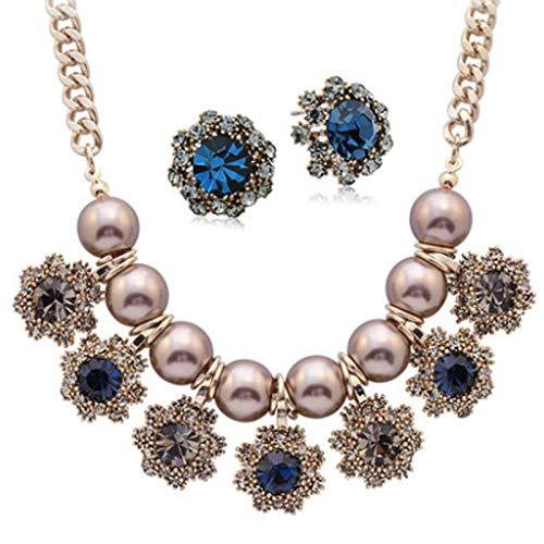 XIRENZHANG - Collar de perlas europeas y americanas para suéter de color rojo con cadena de pizza, decoración femenina, collar y pendientes azules