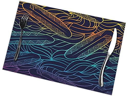 Tcerlcir Manteles Individuales Tabla de Surf Colorida, patrón geométrico sin Costuras, manteles Individuales de algodón, Juego de 6 manteles Individuales para Mesa de Comedor, 12 x 18 Pulgadas