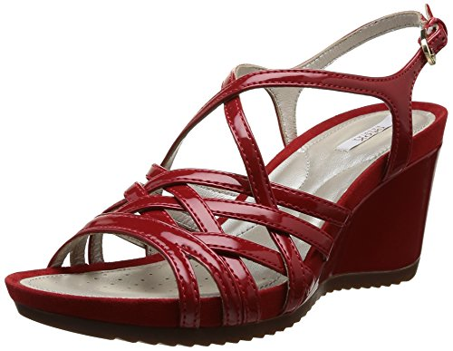 Geox D New Roxy A, Sandali Donna Rosso Rosso (Rosso) 36