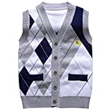 TAIYCYXGAN Little Boys Gentleman Knit Sweater Vest Kids V Neck Cardigan Waistcoat Grey 100